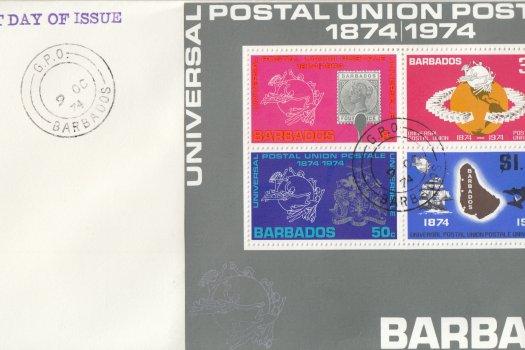 Barbados 1974 | Centenary of the UPU Souvenir Sheet on plain FDC