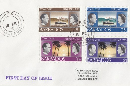 Barbados 1975 | Royal Visit on plain FDC