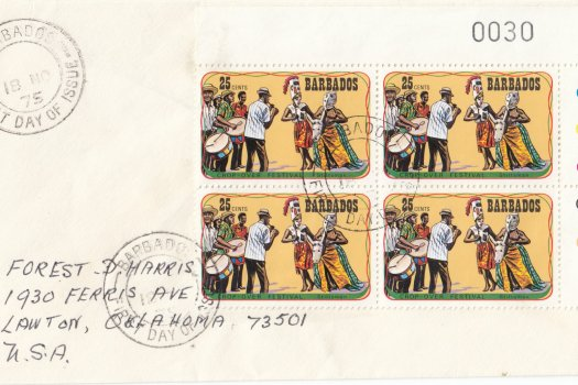 Barbados 1975 | Crop Over Festival Block of Four with plate numbers on plain FDC - 25c