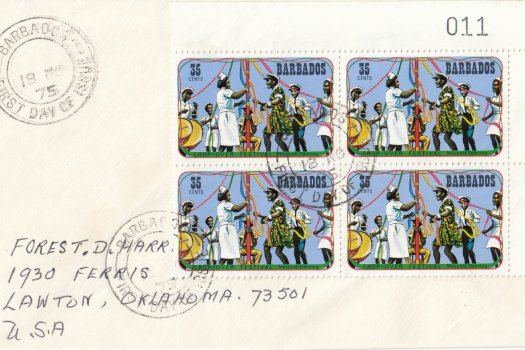 Barbados 1975 | Crop Over Festival Block of Four with plate numbers on plain FDC - 35c
