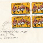 Barbados 1975 | Crop Over Festival Block of Four with plate numbers on plain FDC - 50c