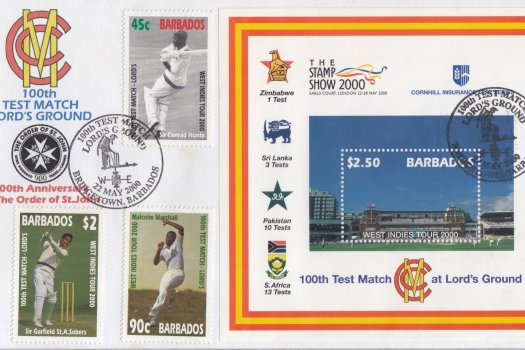 Barbados 2000 | West Indies Cricket Tour and 100th Test Match at Lords Souvenir Sheet plus stamps FDC
