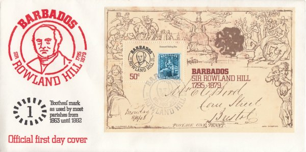 Barbados 1979 | Death Centenary of Sir Rowland Hill Souvenir Sheet FDC