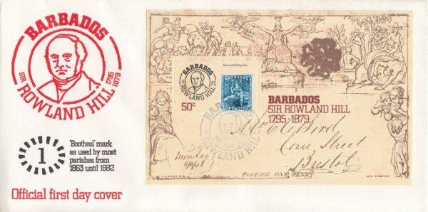 Barbados 1979 | Death Centenary of Sir Rowland Hill Souvenir Sheet FDC