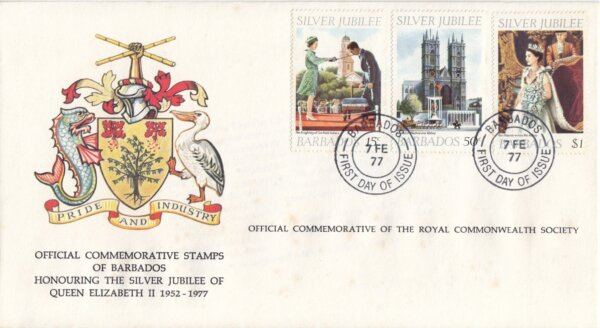 Barbados 1977 | Royal Commonwealth Society Silver Jubilee of QEII FDC