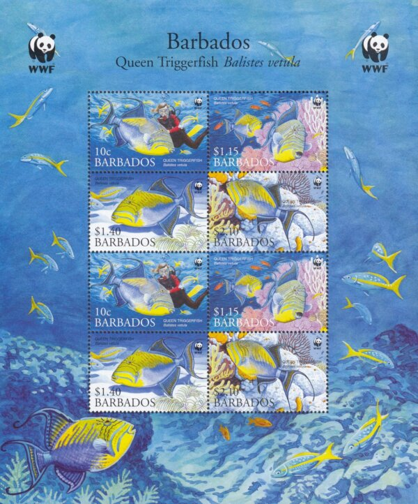 Barbados SG1290-1293 | Endangered Species Queen Triggerfish Sheetlet