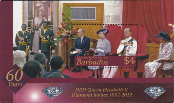 Barbados SGMS1387 | Diamond Jubilee of QEII Souvenir Sheet 2012