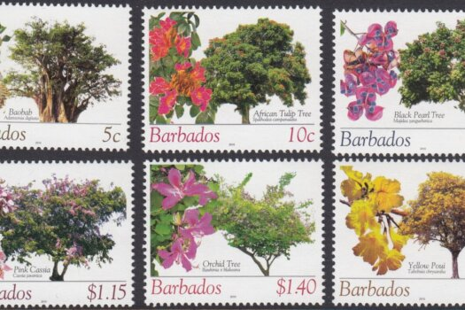 Barbados SG1353a-f | Flowering Trees Definitives 2010 Reprints