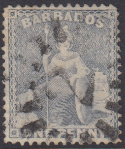 Barbados SG73 | 1d Dull Blue with numeral '2' Christ Church bootheel cancel