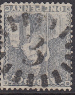 Barbados SG73 | 1d Dull Blue with numeral '3' St Philip bootheel cancel