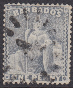 Barbados SG74 | 1d Grey Blue with numeral '4' St George bootheel cancel