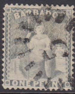 Barbados SG73 | 1d Dull Blue with numeral '5' St John bootheel cancel