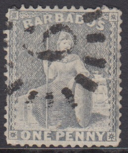 Barbados SG73 | 1d Dull Blue with numeral '6' St Joseph bootheel cancel