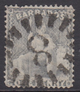 Barbados SG73 | 1d Dull Blue with numeral '8' St Thomas bootheel cancel