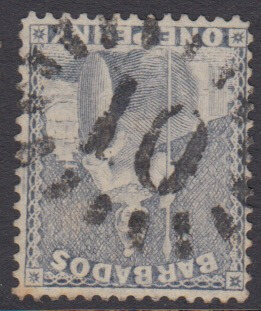 Barbados SG74 | 1d Grey Blue with numeral '10' St Peter bootheel cancel