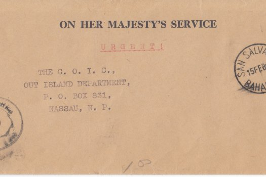 Bahamas 1960   OHMS cover from Commissioners Office San Salvador with CDS