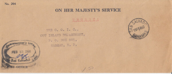 Bahamas 1960 | OHMS cover from Commissioners Office San Salvador with CDS