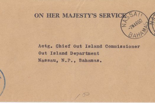 Bahamas 1960 | OHMS cover from Commissioners Office Sandy Point with Nassau CDS