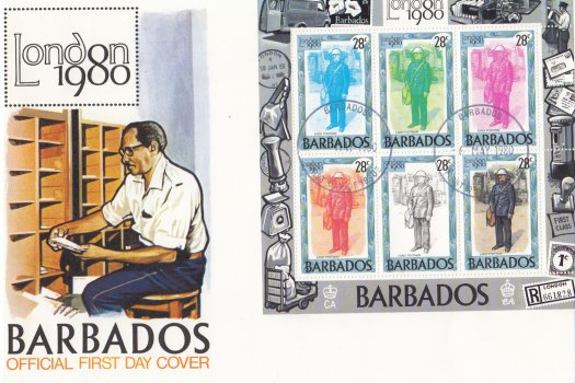 Barbados 1980 | London 1980 International Stamp Exhibition Souvenir Sheet FDC (1)