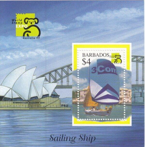 Barbados SGMS1133 | Australia '99 World Stamp Exhibition Sailing Ship Souvenir Sheet