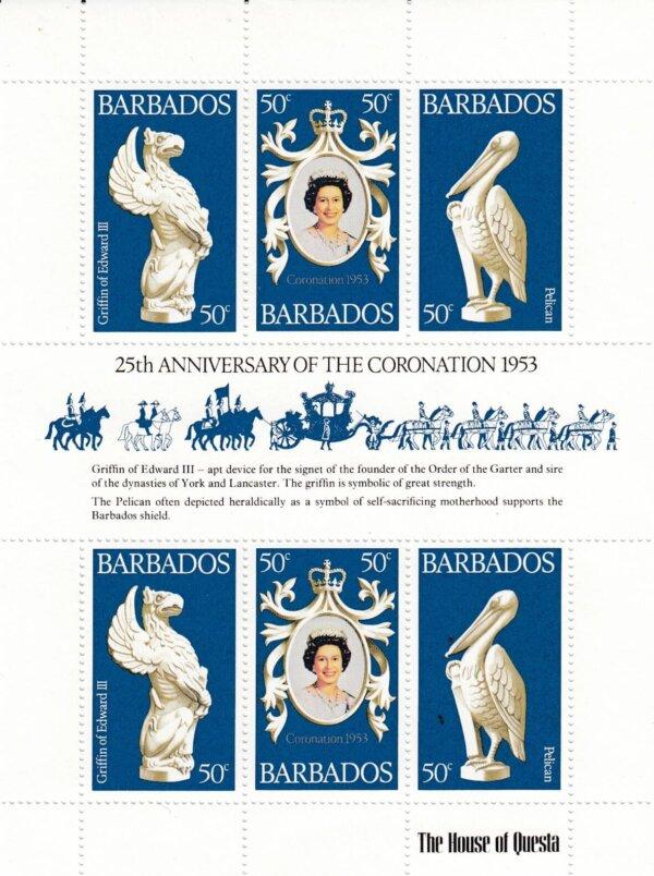 Barbados 597-599 | 25th Anniversary of Coronation Souvenir Sheet