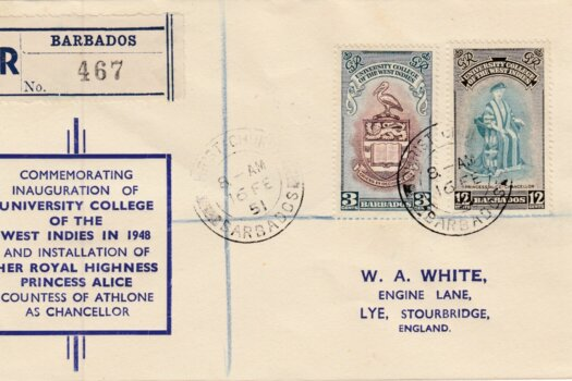 Pre Printed Inauguration of B.W.I University College Barbados FDC 1951 with Christ Church cancel