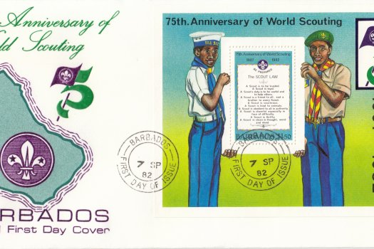 Barbados 1982 | 75th Anniversary of World Scouting Souvenir Sheet FDC