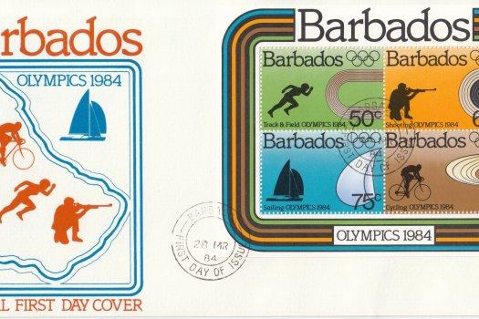 Barbados 1984   Olympics 1984 Souvenir Sheet FDC