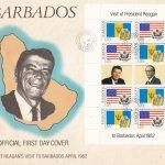 Barbados 1982 | President Reagan's Visit to Barbados Souvenir Sheet FDC