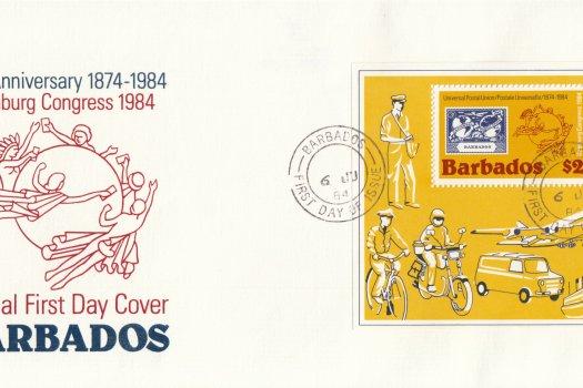 Barbados 1984 | Centenary of the UPU Hamburg Congress 1984 Souvenir Sheet FDC