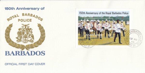 Barbados 1985 | 150th Anniversary of Royal Barbados Police Souvenir Sheet FDC