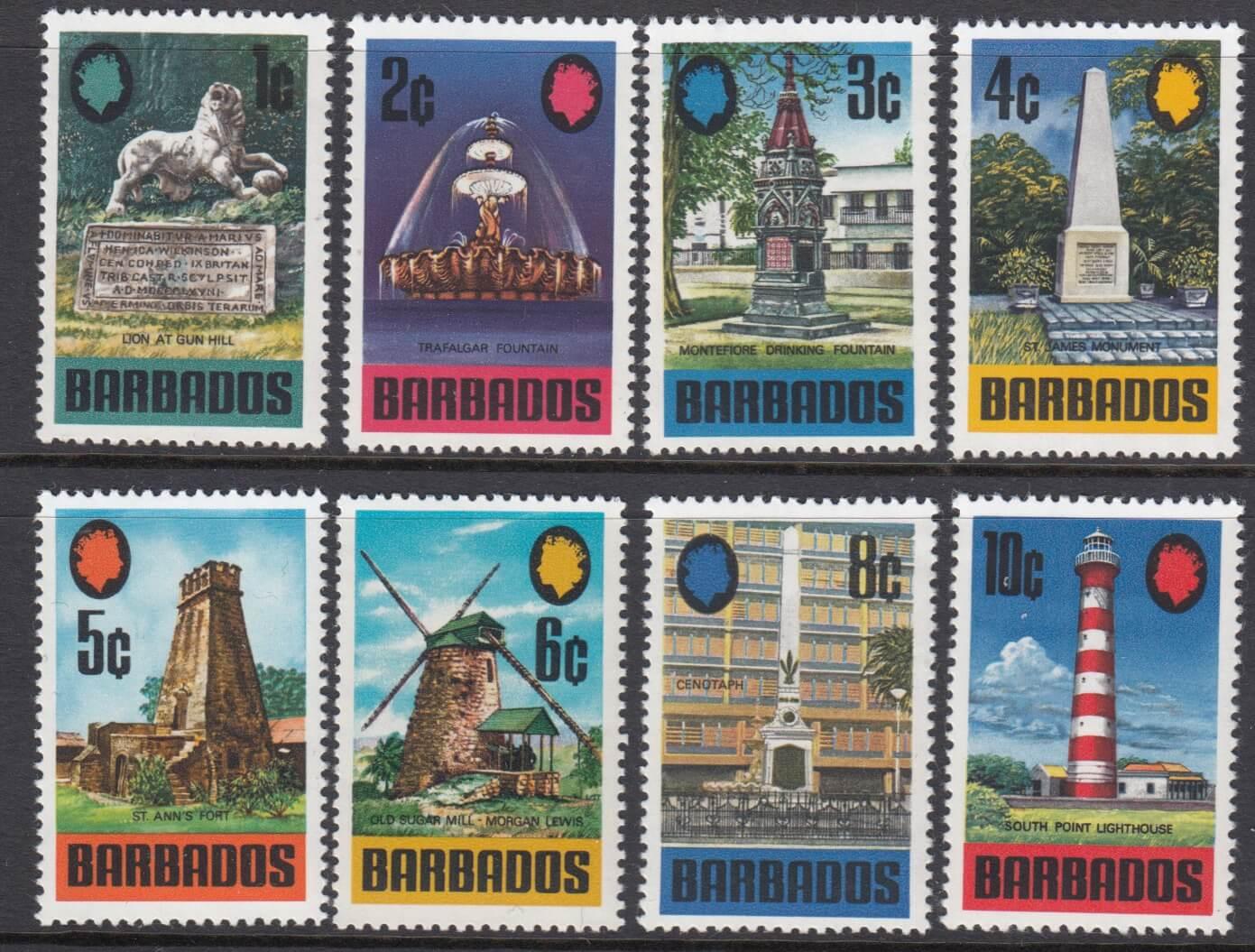 Barbados SG399-414 | Landmarks of Barbados Definitives 1970-71 - Low Values