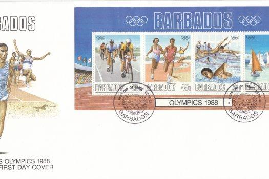 Barbados 1988 | Barbados Olympics Souvenir Sheet FDC
