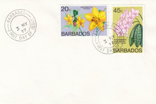 Barbados 1977 | Orchids of Barbados Definitives (additional values) on plain FDC