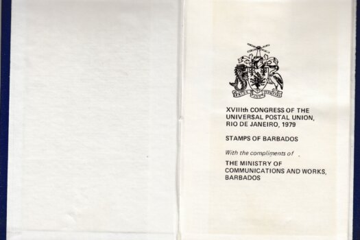 XVIIIth Congress of the Universal Postal Union, Rio de Janeiro 1979 - Barbados stamp booklet inner cover