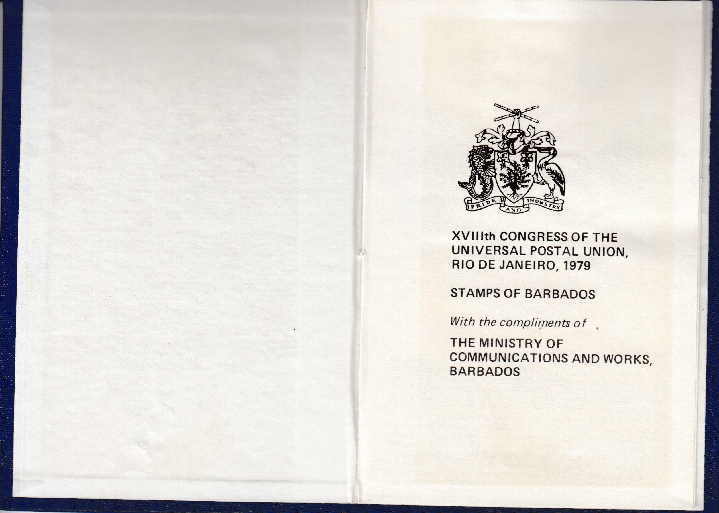 XVIIIth Congress of the Universal Postal Union, Rio de Janeiro 1979 - Barbados stamp booklet inner cover