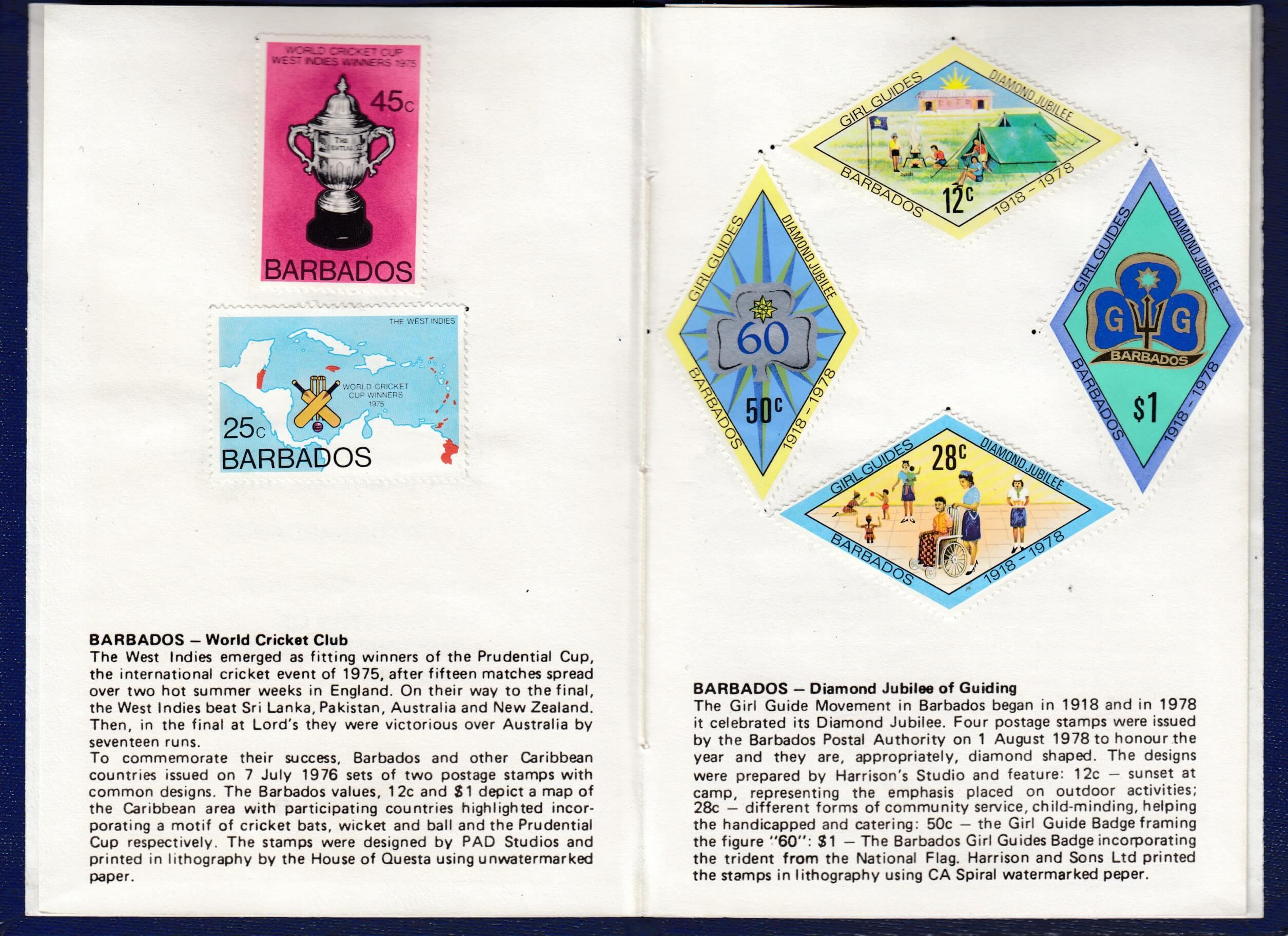 XVIIIth Congress of the Universal Postal Union, Rio de Janeiro 1979 - Barbados stamp booklet page 1