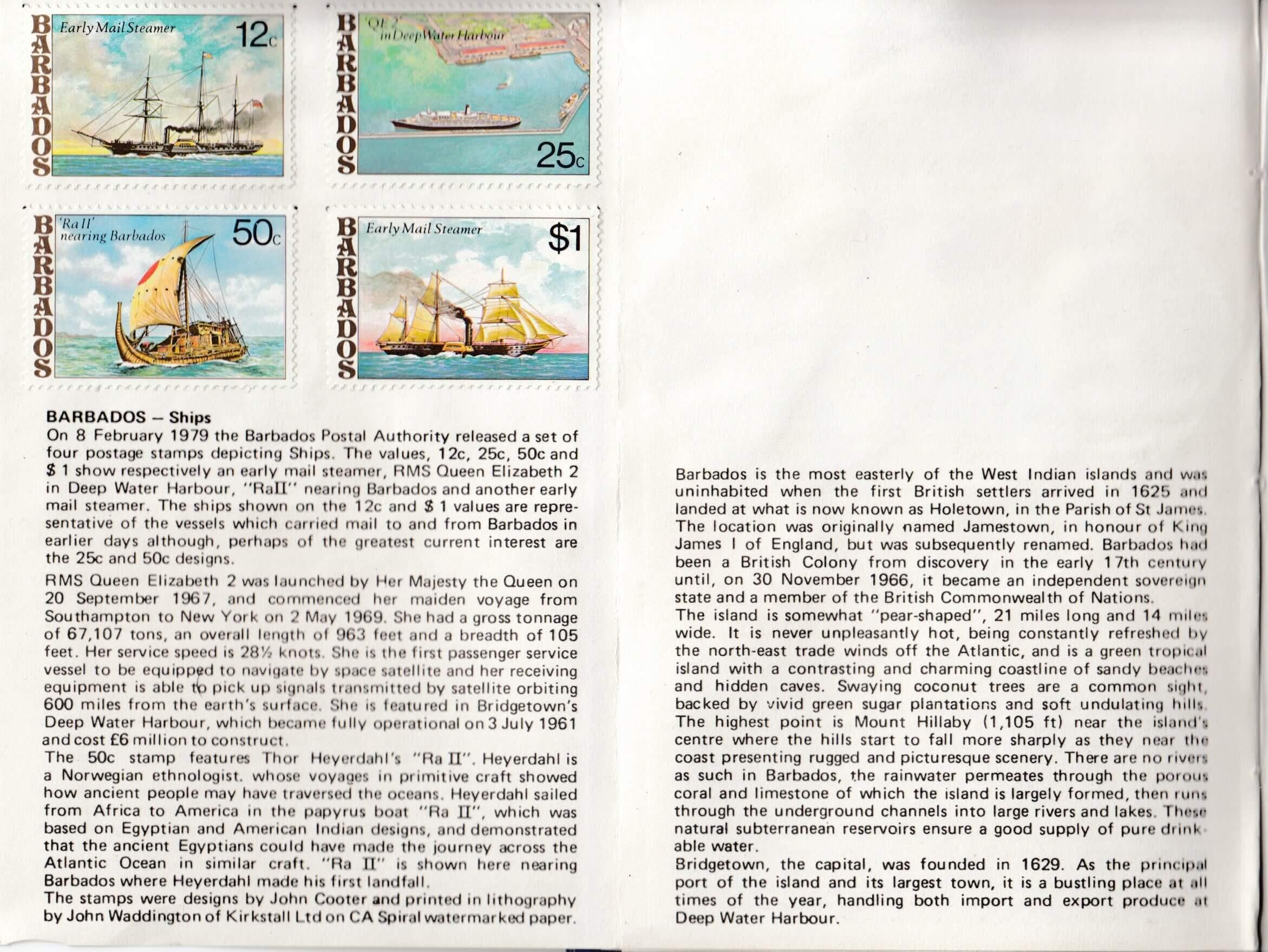 XVIIIth Congress of the Universal Postal Union, Rio de Janeiro 1979 - Barbados stamp booklet page 3