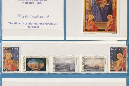 XIXth Congress of the Universal Postal Union Hamburg 1984 Barbados Stamps folder