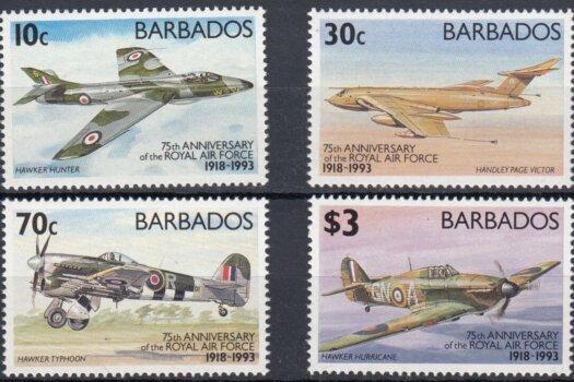 Barbados SG991-994 | 75th Anniversary of Royal Air Force