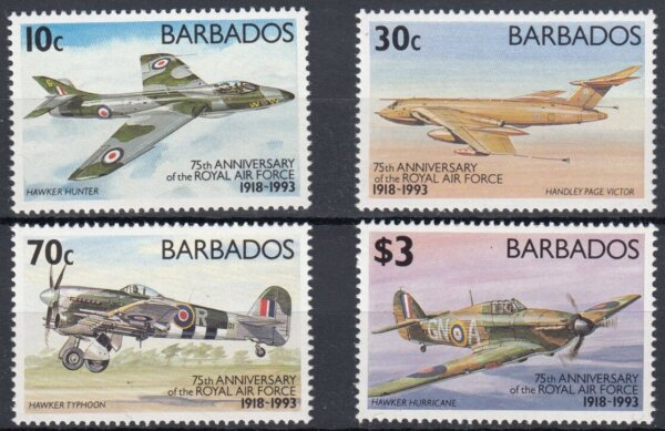Barbados SG991-994 | 75th Anniversary of Royal Air Force