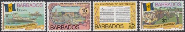 Barbados SG569-572 | 10th Anniversary of Independence