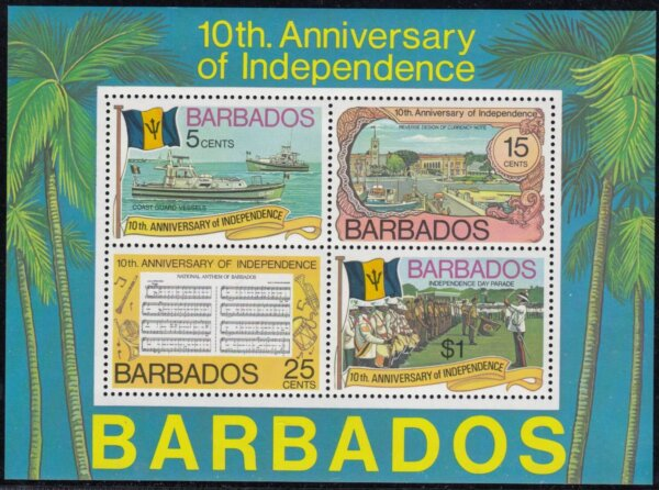 Barbados SGMS573 | 10th Anniversary of Independence Souvenir Sheet