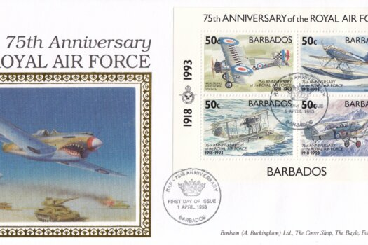 Barbados 1993 | 75th Anniversary of Royal Air Force Souvenir Sheet Benham FDC