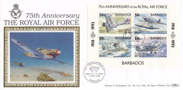 Barbados 1993 | 75th Anniversary of Royal Air Force Souvenir Sheet Benham FDC