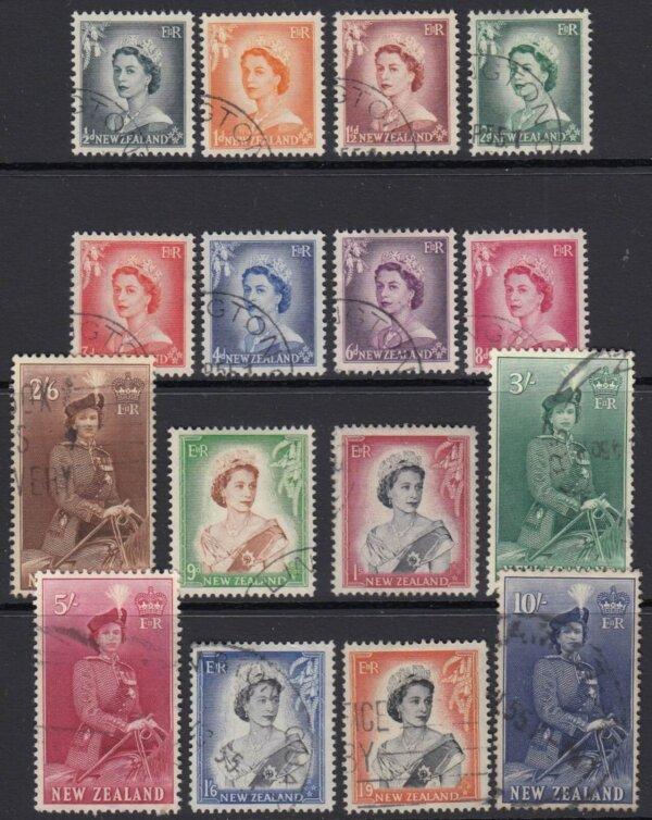 New Zealand SG723-736 | 1953-59 QEII Definitive set (Used)