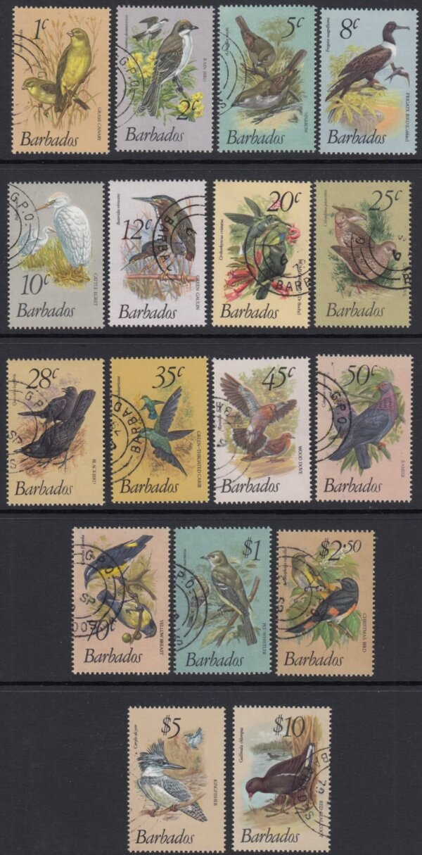 Barbados SG622-638 | Birds of Barbados Definitives 1979-83 Original Short Set (Used)
