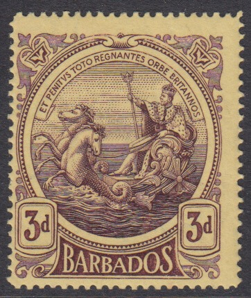 Barbados SG186a | 3d Deep Purple/Yellow on thick paper