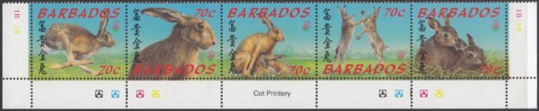 Barbados 1143-1147 | China 99 International Stamp Exhibition, Beijing Hares