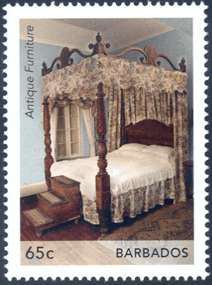 Barbados Stamps| Barbados Antique Furniture 65c Four Poster Bed